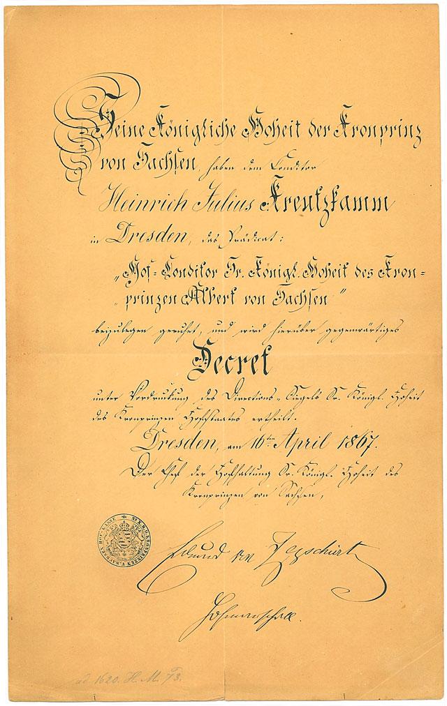 Altes Dokument des Betriebes Café Kreutzkamm